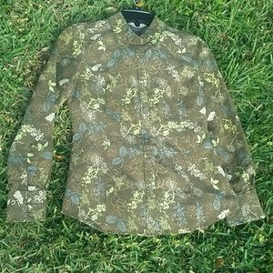 Olive Green Floral Print Button Down Shirt Size S